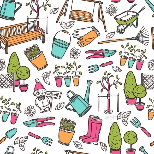 GraphicRiver Gardening Seamless Pattern 11011679