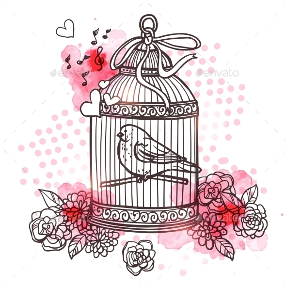 GraphicRiver Bird in Cage Illustration 11011715