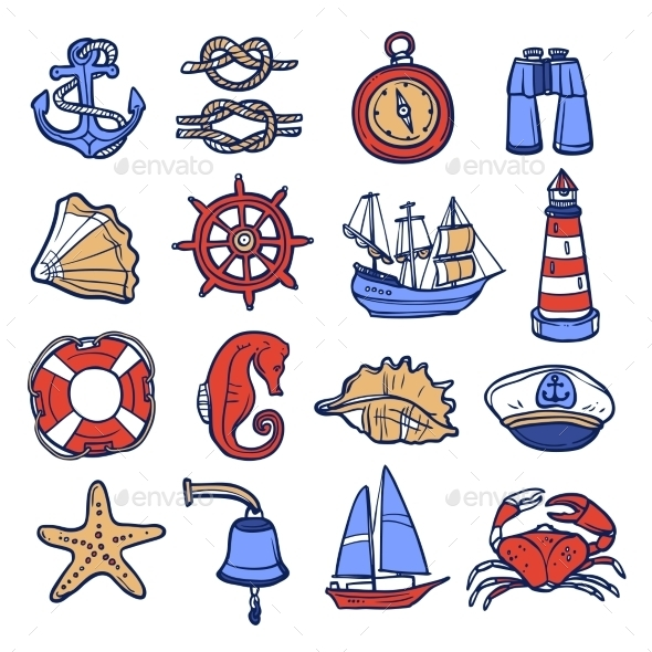 GraphicRiver Nautical Icon Set 11011717