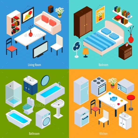 GraphicRiver Isometric Interior Set 11011781