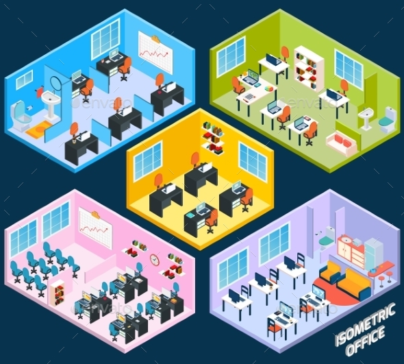 GraphicRiver Isometric Office Interior 11011783