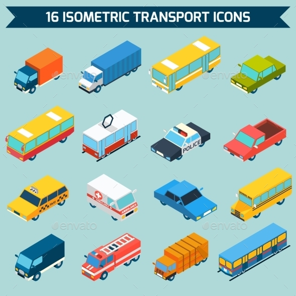 GraphicRiver Isometric Transport Icons Set 11011789