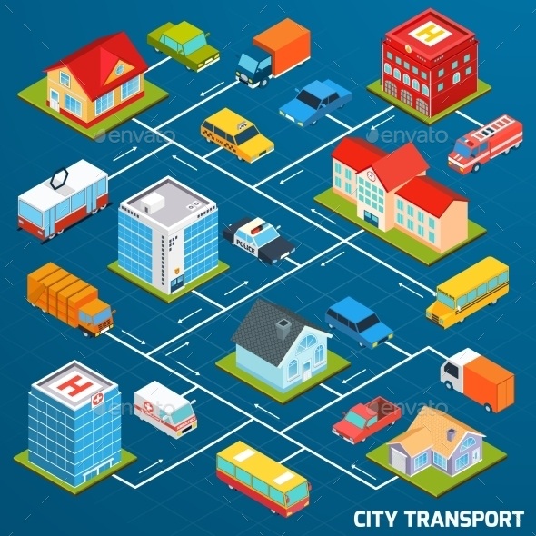 GraphicRiver Transport Isometric Flowchart 11011791