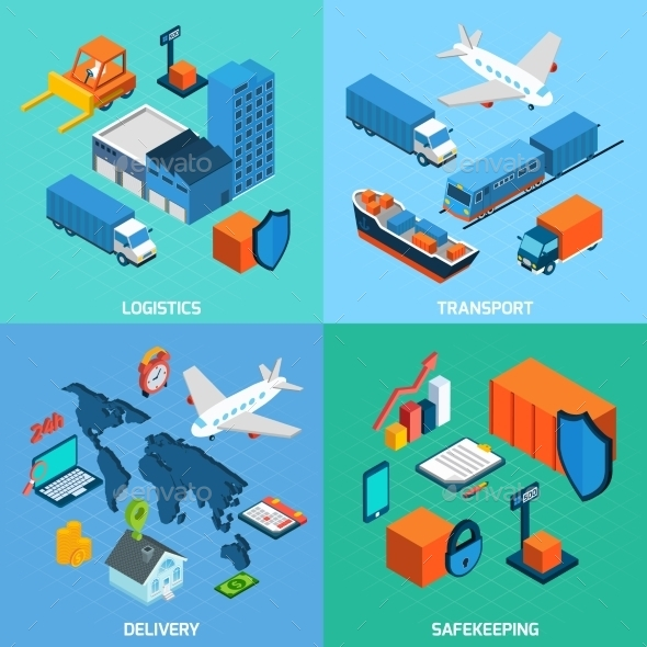 GraphicRiver Logistics Isometric Set 11011797