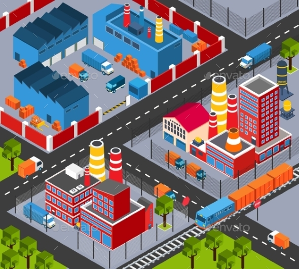 GraphicRiver Factory Infrastructure Isometric 11011800