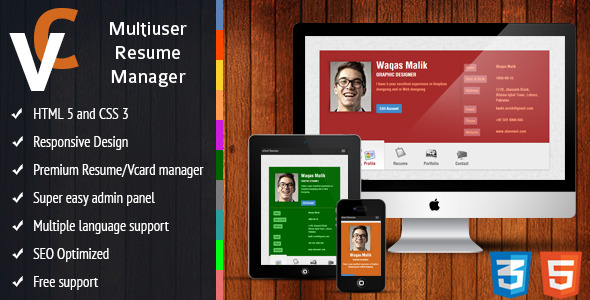 premium responsive vcard resume manager by sheensol codecanyon