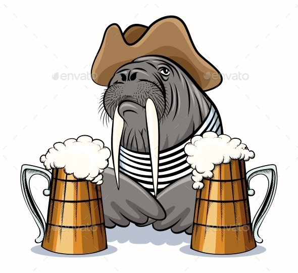 GraphicRiver Walrus and Beer 11012258