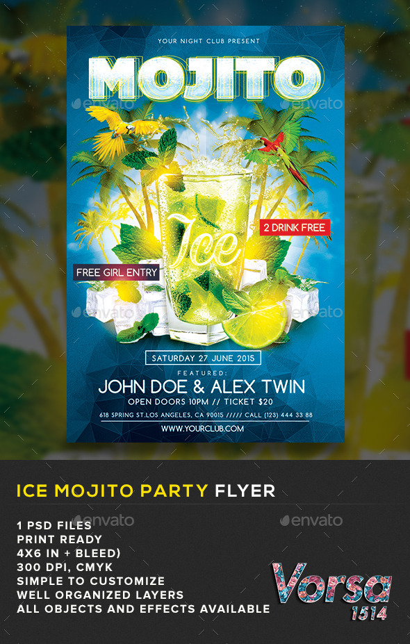 GraphicRiver Ice Mojito Party Flyer 11012425