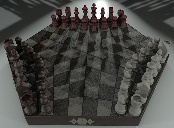 3DOcean Chessboard for Three Players and Pieces 11013396