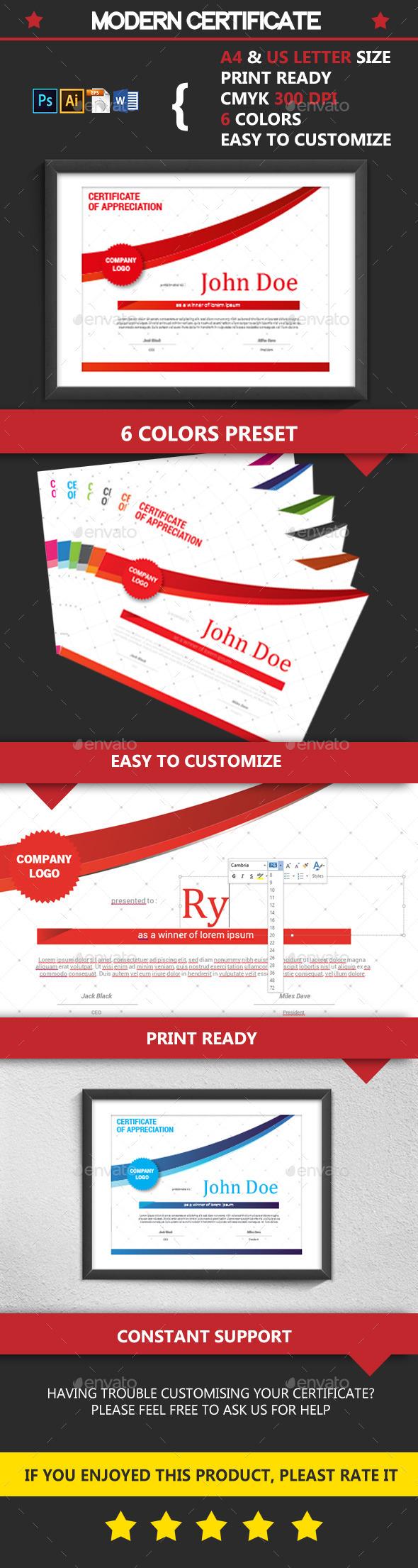GraphicRiver Modern Certificate 10983489