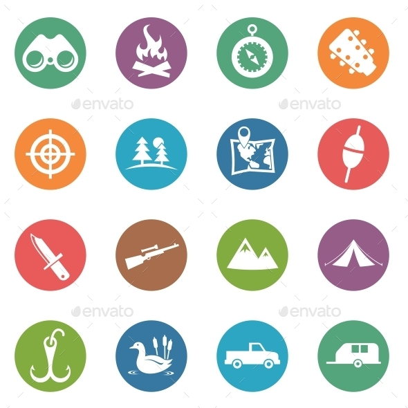 GraphicRiver Hunting Circle Icons 10888209