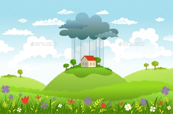 GraphicRiver Rain Over One House 11016130
