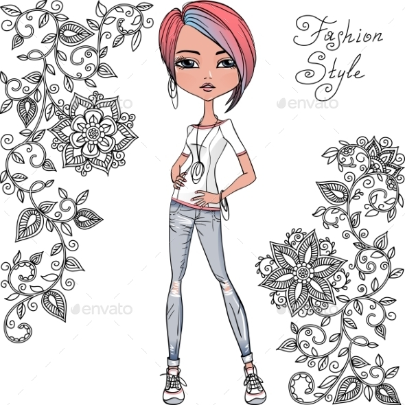 GraphicRiver Fashion Hipster Girl 11016181