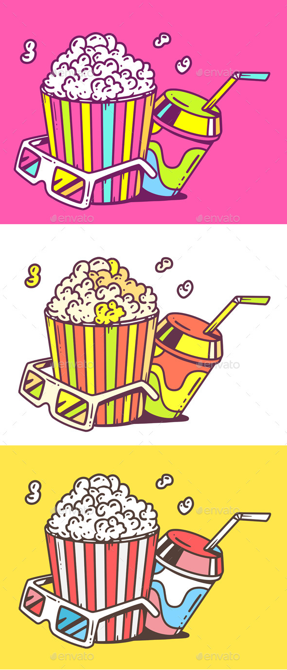 GraphicRiver Popcorn with Juice and 3D Glasses 11016210