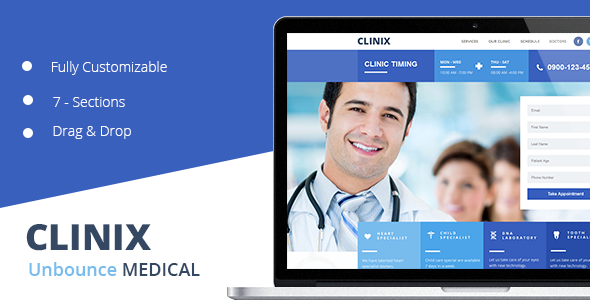 ThemeForest CLINIX Medical Unbounce Landing Page 10955210