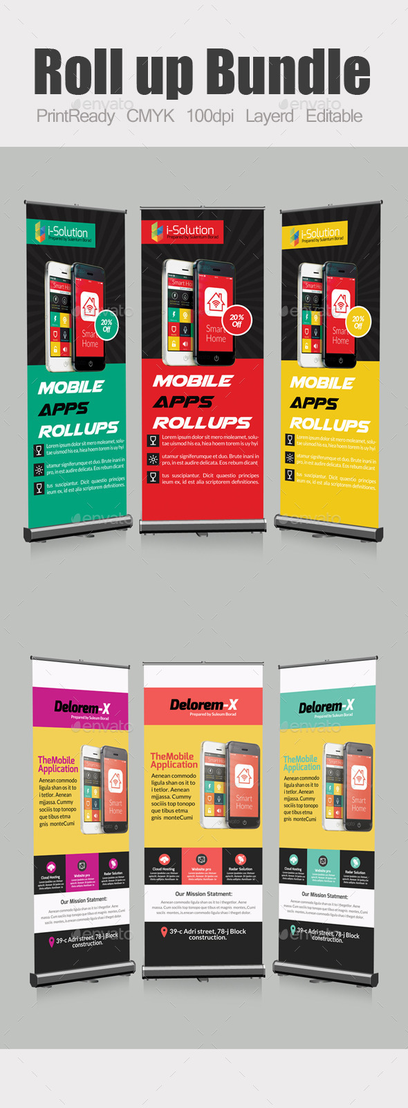 GraphicRiver Mobile App Roll Up Banners Template Bundle 11016439