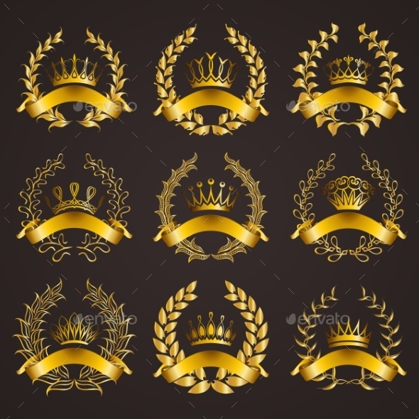 GraphicRiver Luxury Gold Labels with Laurel Wreath 11016441