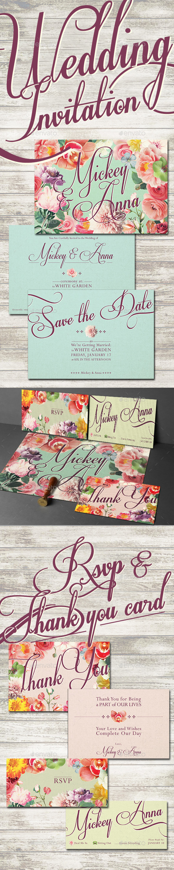 GraphicRiver Sweet Flower Wedding Invitation 10957312