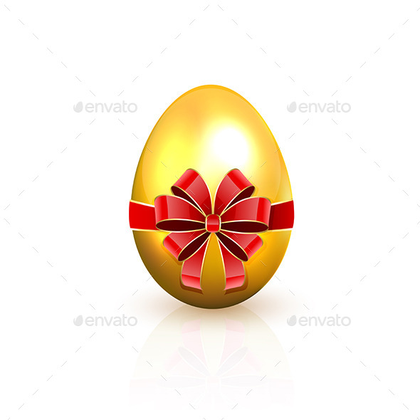 GraphicRiver Golden Egg with Red Bow 11017015