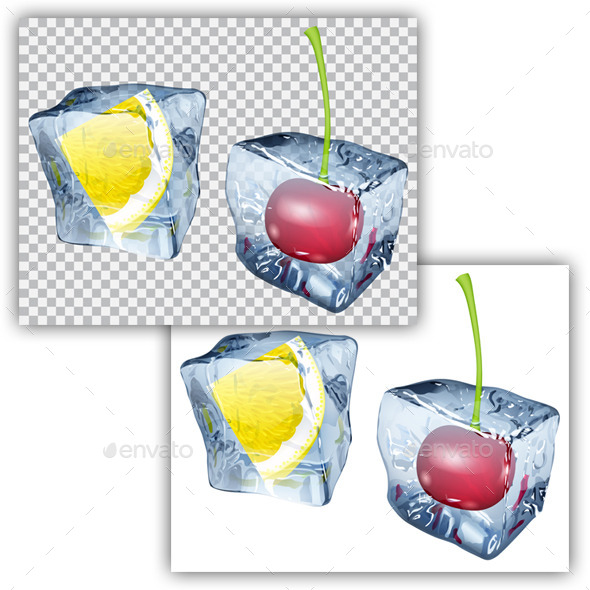 GraphicRiver Ice Cubes with Lemon and Cherry 11017571