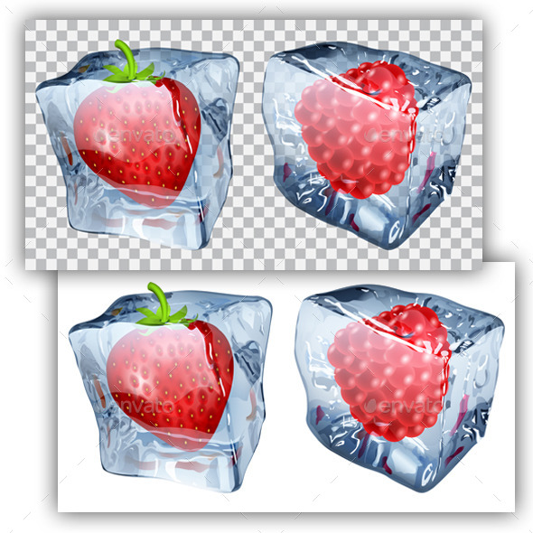GraphicRiver Ice Cubes with Strawberry and Raspberry 11017592