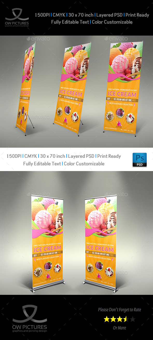 GraphicRiver Ice Cream Roll-up Signage Banner Template Vol.3 11017656