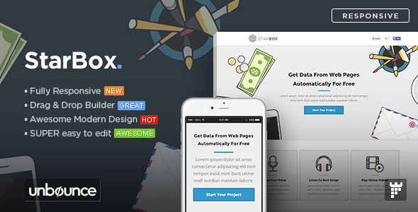 ThemeForest StarBox Startup Unbounce Landing Page Template 11018145