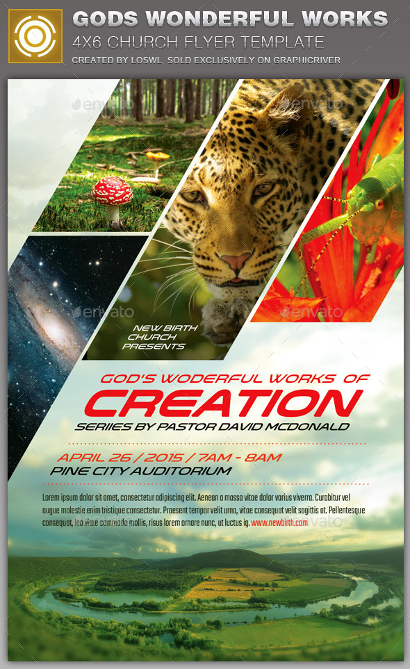 GraphicRiver God s Wonderful Works Church Flyer Template 11018181