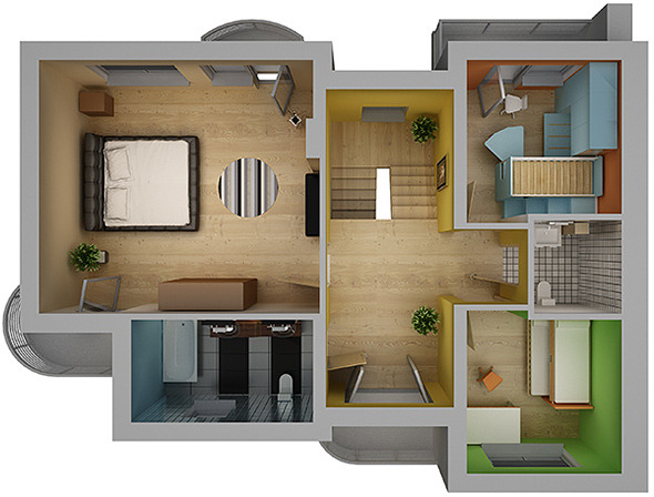 Home interior floor plan 02 by visualcg 3docean for Model house design with floor plan