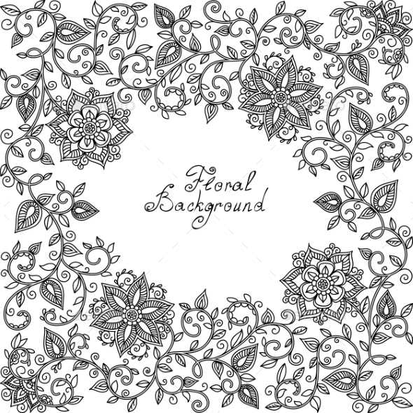 GraphicRiver Black and White Floral Pattern 11019332