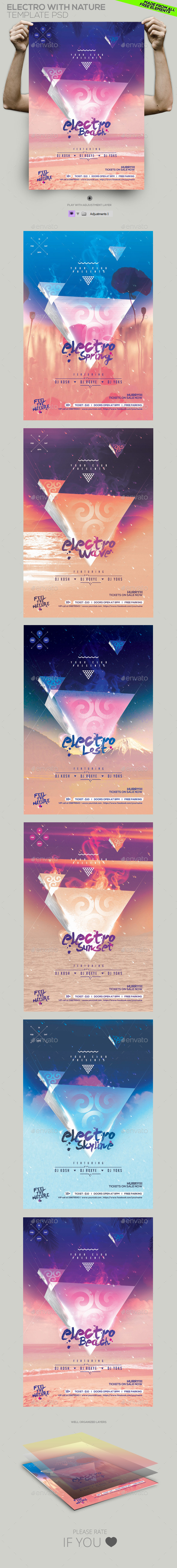 GraphicRiver Electro by Nature Party Template Flyer Poster 11020023