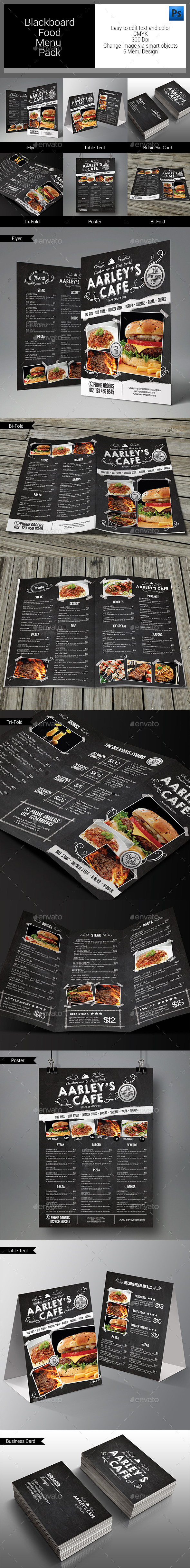 GraphicRiver Blackboard Food Menu Bundle 11020267