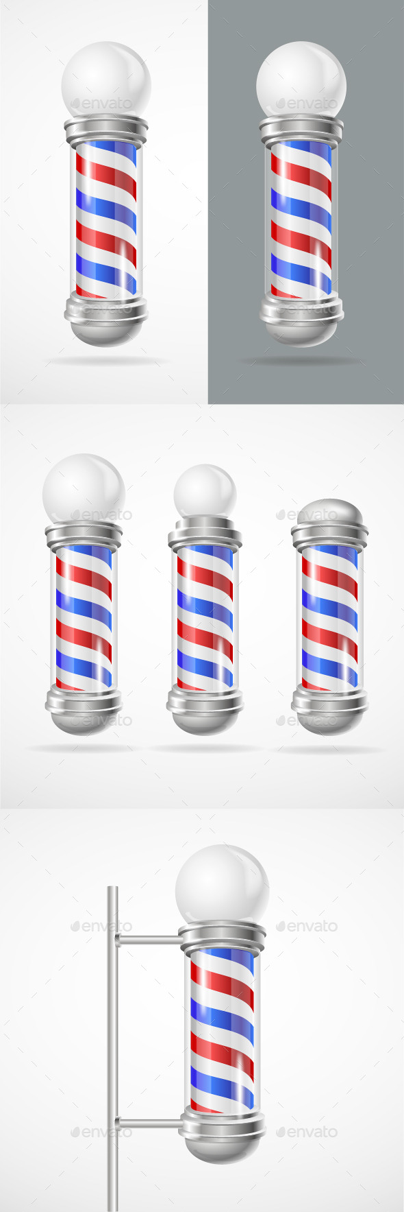 GraphicRiver Barber Shop Pole Set 11020477