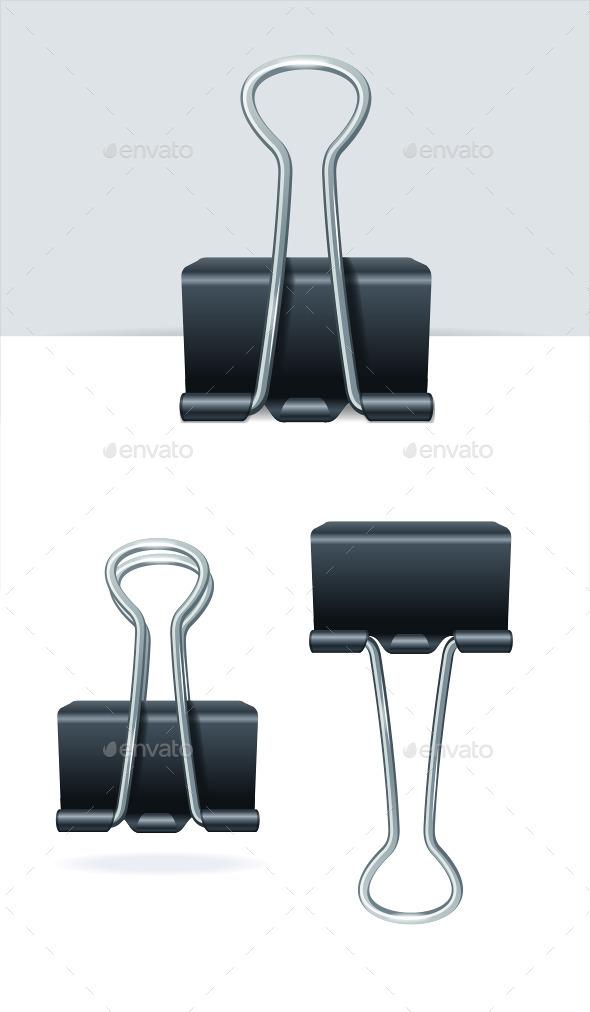 GraphicRiver Black Binder Clip Set 11020542