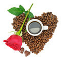 coffee beans, cup and rose - PhotoDune Item for Sale