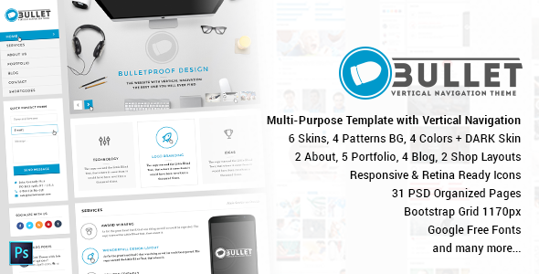 ThemeForest Bullet Multipurpose Vertical Menu PSD Template 10935728