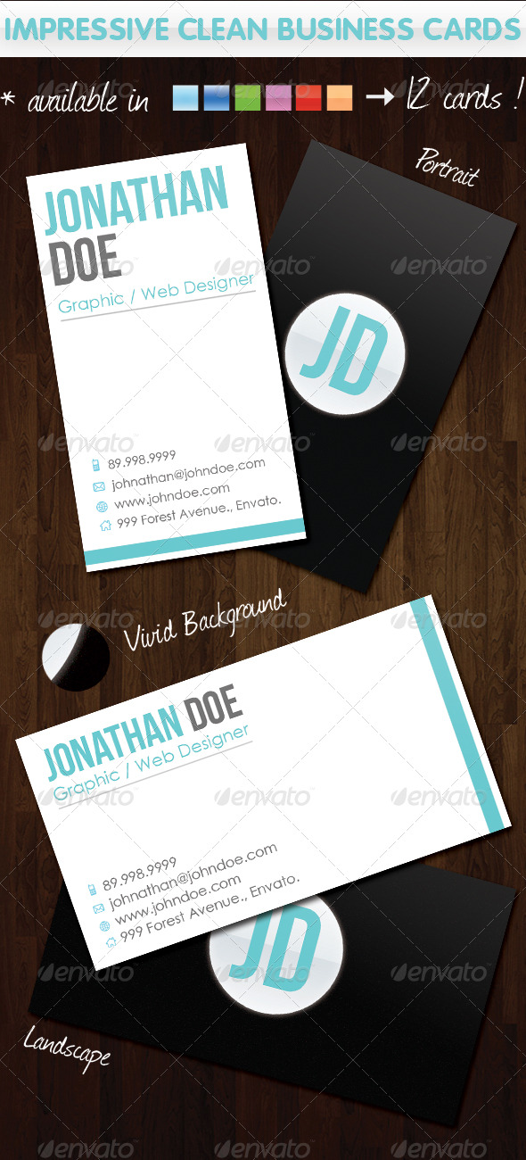 GraphicRiver Impressive Clean Business Cards 136572