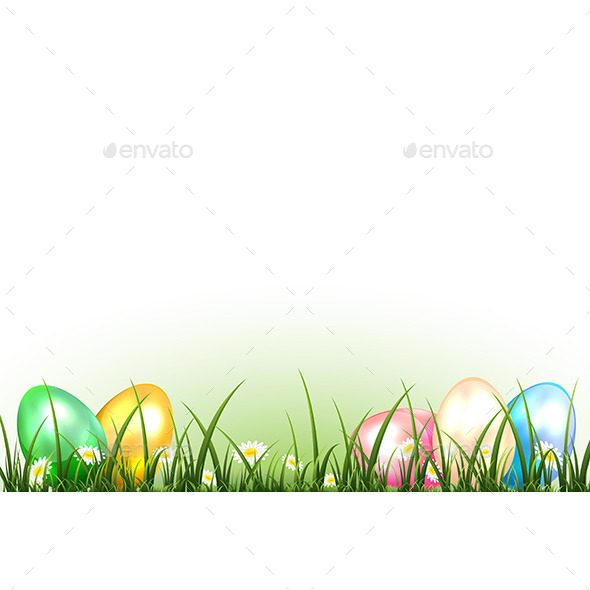 GraphicRiver Easter Eggs on a Grass 11021379