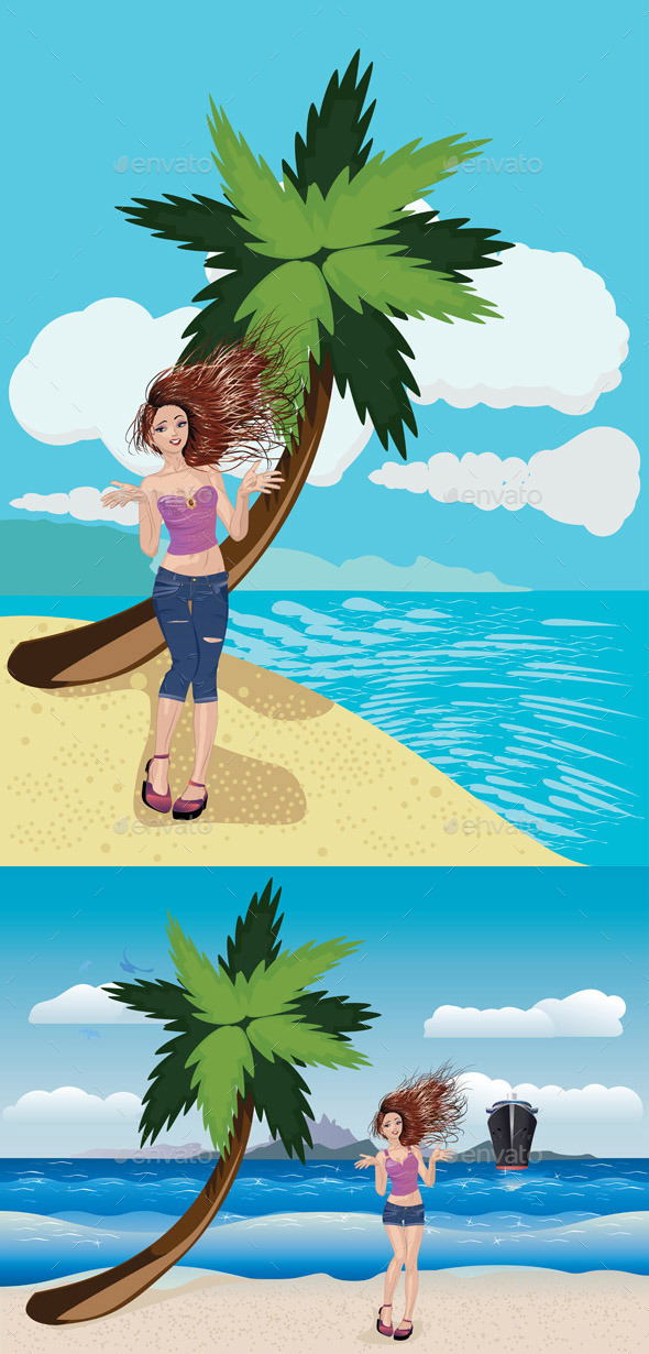 GraphicRiver Girl on a Sunny Beach 11022177
