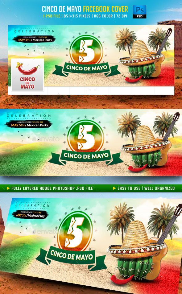 GraphicRiver Cinco de Mayo Facebook Cover 11022299