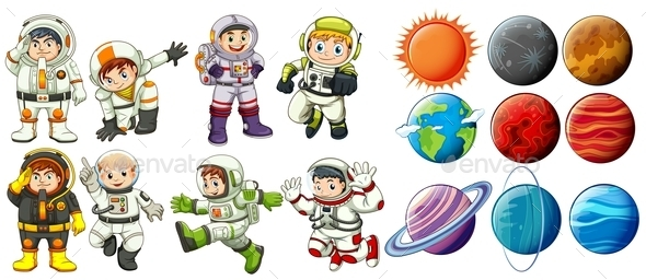 GraphicRiver Astronauts and Planets 11022349