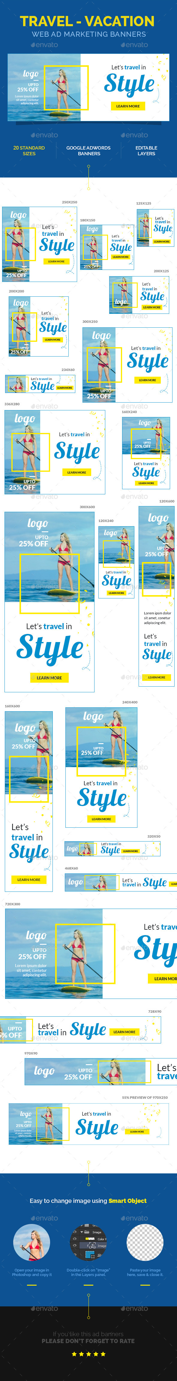 GraphicRiver Travel Vacation Web Ad Marketing Banners 11022465