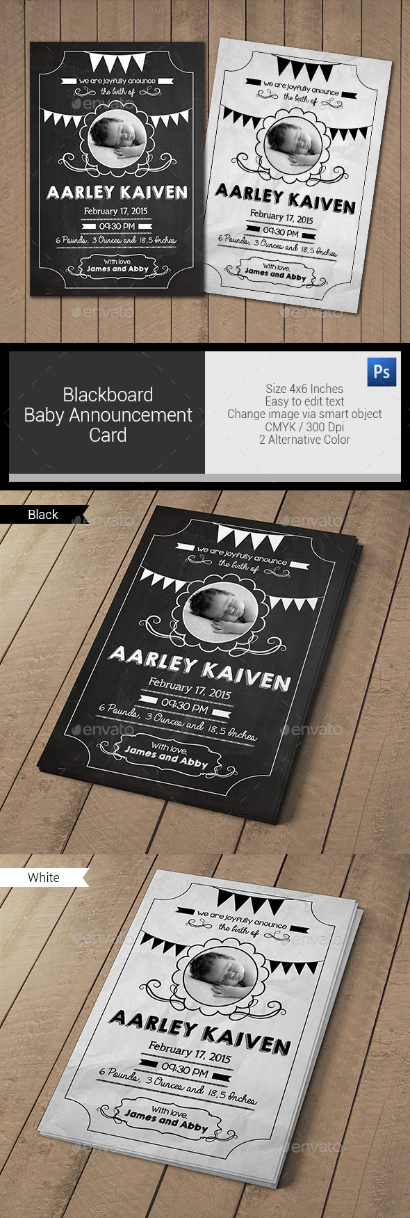 GraphicRiver Blackboard Baby Announcement Card 11022472