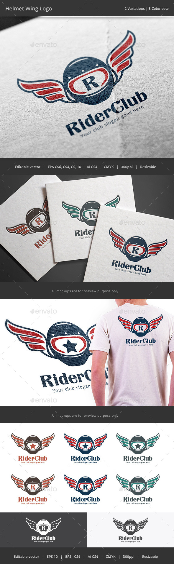GraphicRiver Motorcycle Helmet Wing Logo 11022773