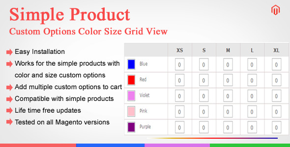 CodeCanyon Magento Custom Options Color Size Grid View 11022872