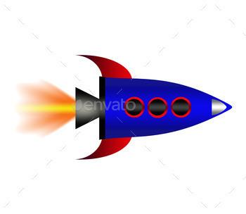Cartoon rocket.