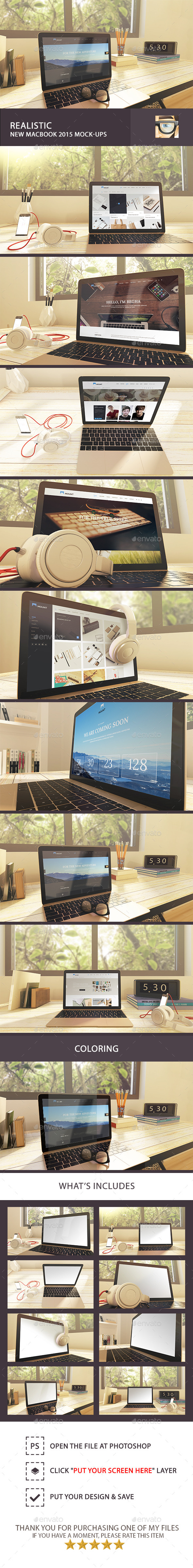 GraphicRiver Realistic New MacBook 2015 Mock-Ups 11022991