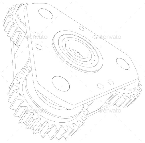 GraphicRiver Wire-Frame Gears 11023226