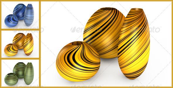 3DOcean Set of vases 136596