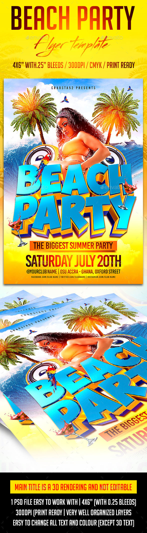 GraphicRiver Beach Party Flyer Template 11023653